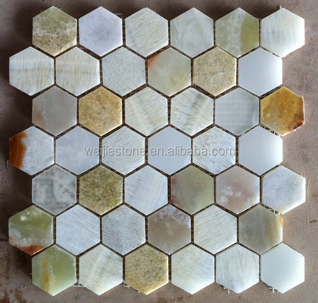 Shiny Hexagon Onxy Shower Floor Mesh Backed Mosaic Tiles