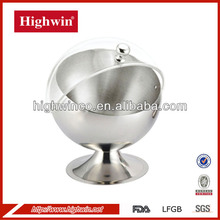 Stainless steel roundness cube sugar container with lucency lip