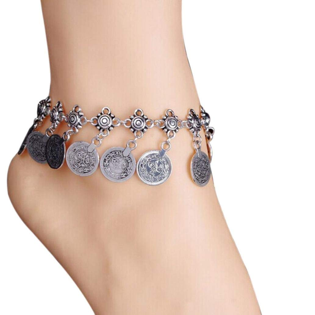 Quaant Anklet,Womens Tribal Ethnic Coin Tassel Gypsy Festival Turkish Beach Anklet Jewelry Anklets Chain Delicate (Sliver)