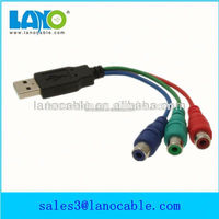 high quality 1m usb2.0 male to 3 rca female usb to rca cable
