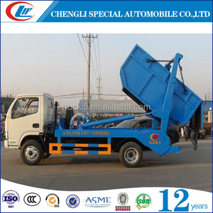 3m3 swept-body refuse collector 5000 liters swing arm garbage truck 5m3 Skip loader garbage truck for sale