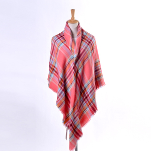 100%Acrylic supersoft plaid square poncho wrap scarf shawl ruana