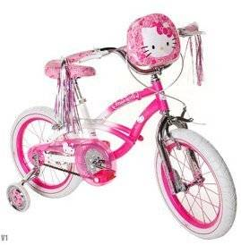 Hello Kitty Girls' Bike 16 inch with training wheels, bag and streamers. Pink & White Girls Bike ON SALE !! A girls bike which helps balance and coordination. Great Kids Bike.