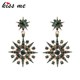 Blue Green Clear Crystal Snowflake Earrings Party Weeding Big Chandelier Drop Earrings ed01439b