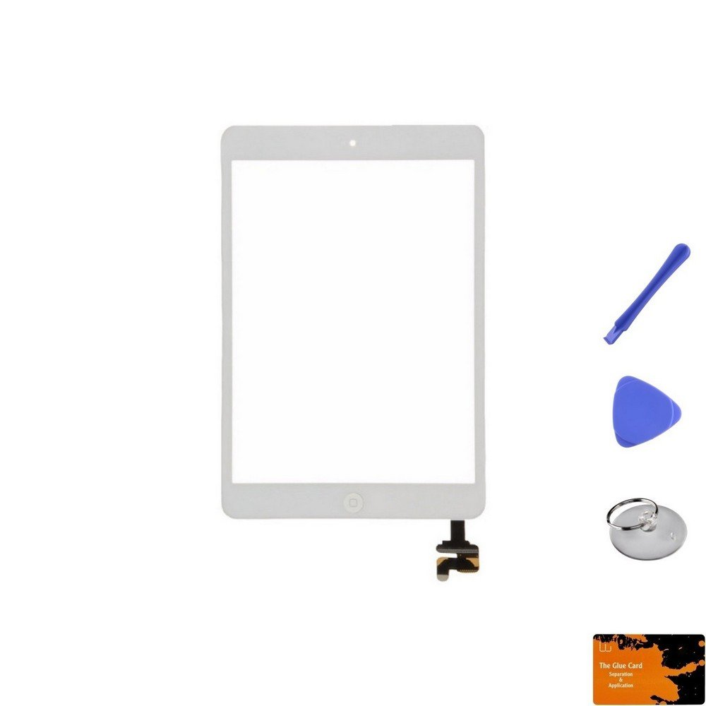 Digitizer & IC Connector (Pre-Soldered with Adhesive & Resistors) for Apple iPad Mini (White) & Glue Card, Suction Cup, Tri Pri, Cross Pry Tools