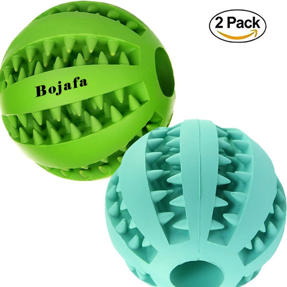 Bojafa Puppy Small Medium Dog Toys Balls (2 Pack) Rubber Durable Tough IQ Toys for Pet Tooth Cleaning/Chewing/Playing/Treat Dispensing