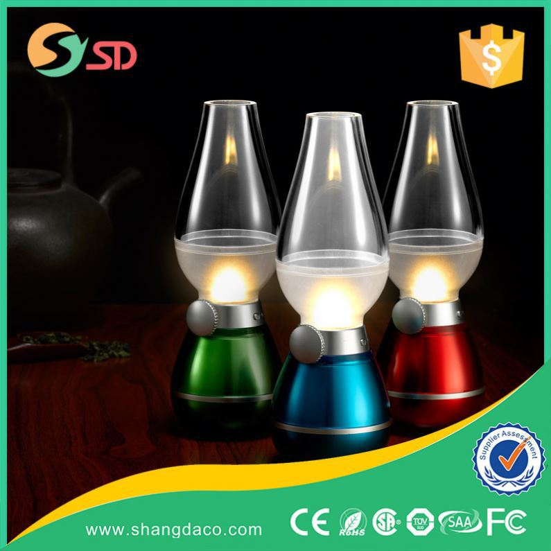 Built-in Battery Blowing LED Lamp Creative Rechargeable Blow 3d led night lamp