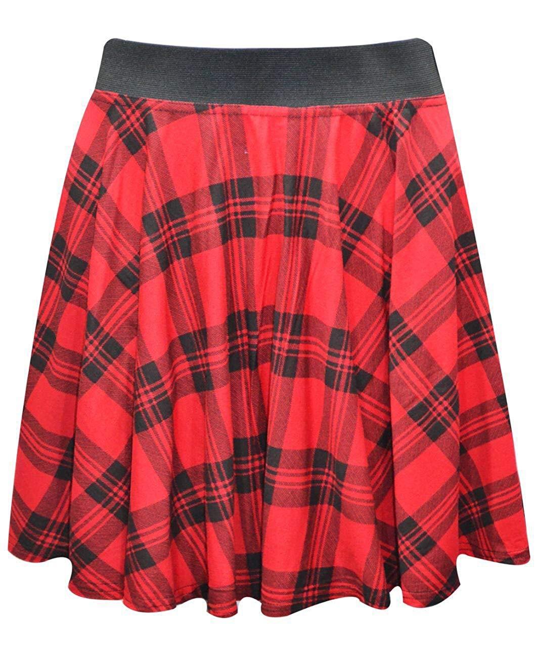 aae7ad73a5 Get Quotations · Women's Red Tartan Printed Elastic Waistband Short Mini  Skater Skirt
