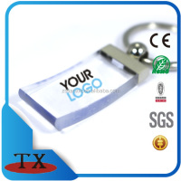 Promotional giveaway plastic transparent metal keychain with printing logo