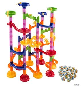 Marble Run Race Coaster 105 Piece Set with 75 Building Blocks Plus 30 Race Marbles Learning Railway Construction Maze Toy Game