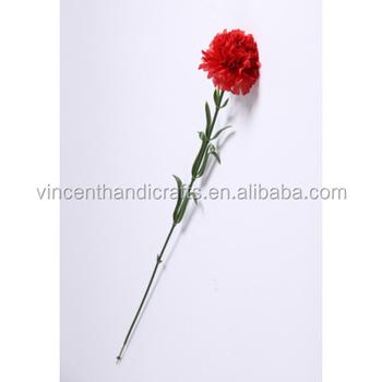 Artificial Red Carnation Single Silk Flower Bouquet For Homewedding