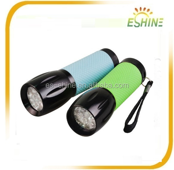 ES-FN001 Pocket Adorable Rubber Glow and Aluminum 9 led flashlight torch