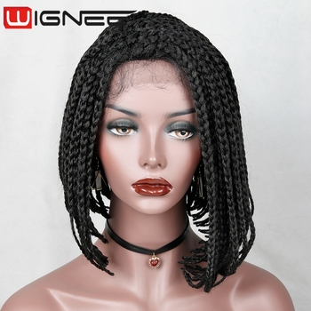 f6f74c7fa83 Wholesale Factory Price Lace Front Synthetic Braided Bob Wig Natural Black  Color Lace Wig For Black