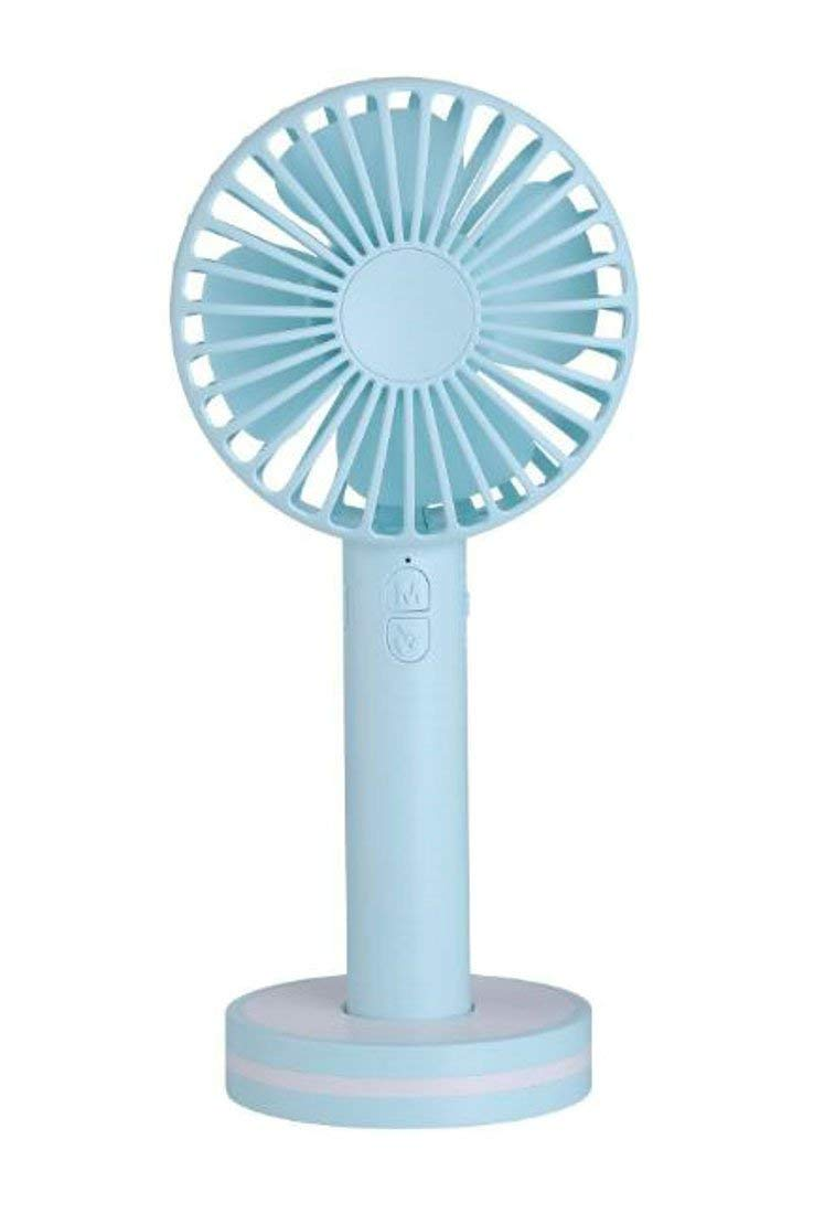 Lutratocro Mini Handheld fan with Makeup Mirror,Personal Desk Fan Portable Rechargeable USB Fan 2000mAh Battery Fan with 3 Setting for Home Office Outdoor Blue