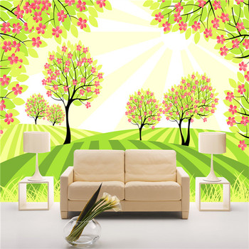 Cute Tree With Flower Pattern Textured Murals Wall Paper For ...