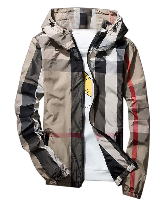 c8d9c4df06b88 Get Quotations · KLJR Men Quilted Lightweight Plaid Slim Fit Hoodie Jacket  Coat