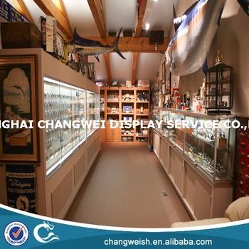 Wood And Glass Fishing Counter Reel Display Stand Buy Display