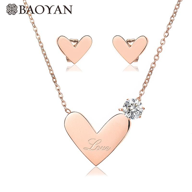 7f1398661f44 Baoyan joyeria de acero inoxidable mujer 2018 nueva venta al por mayor  collar de corazón de