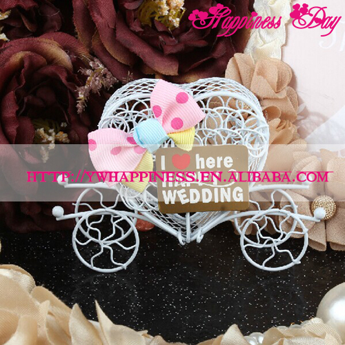 Baby Candy Boxes Metal Carriage Sugar Boxes with Pink Bow Decorative Favors