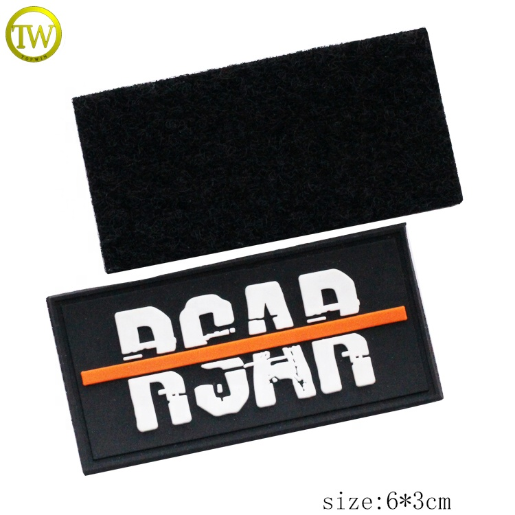 3D embossed logo rubber label with hook loop,rubber logo patch for hats