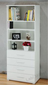 Eva Libreria Con Cassetti Highgloss Bianco Rosso Nero Calce - Buy ...