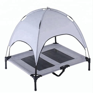 Innovative Outdoor Waterproof Travel Indestructible Foldable Cooling Mesh Wrought Iron Metal Cot Raised Pet Dog Bed Canopy Tent