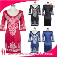 4 Colors Casual Emboridered Lady Summer Indian Designs Long sleeve casual Dress for india women