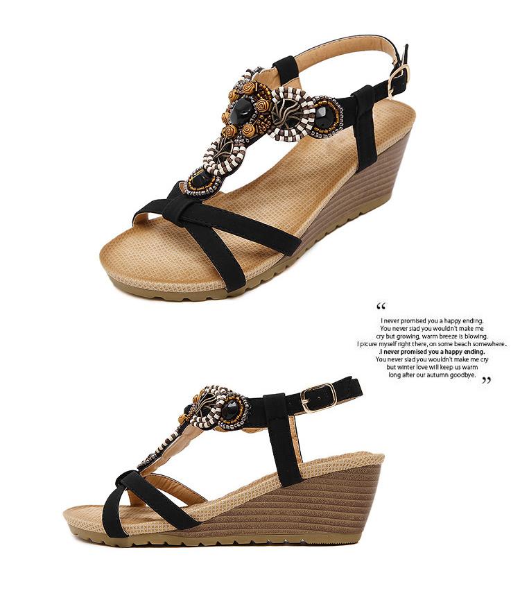 f267b7e6b 2017 New Arrival Summer Bohemian Wedge Sandals Women Shoes Platform Rhinestone  Beaded Gladiator Flip Flops
