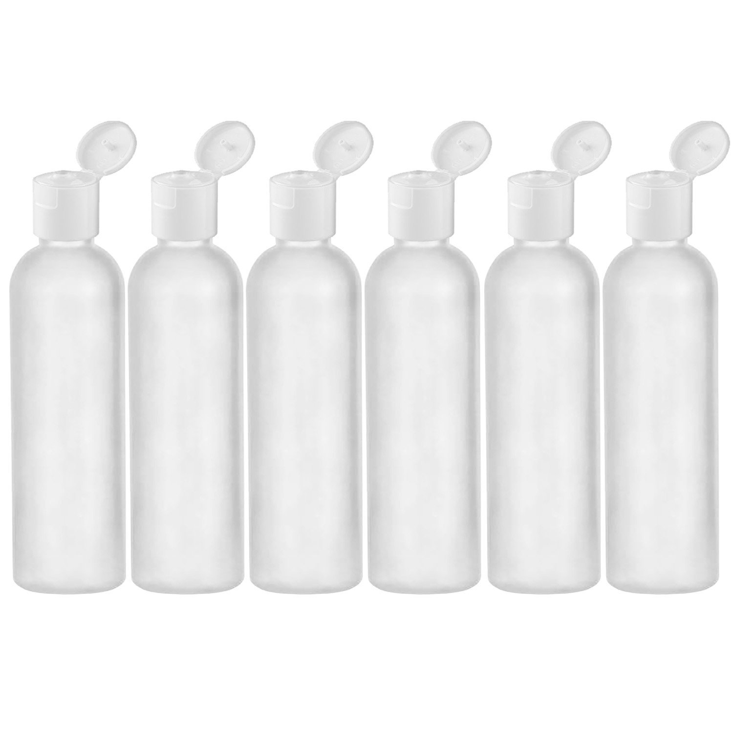 MoYo Natural Labs 4 oz Travel Bottles, Empty Travel Containers with Flip Caps, BPA Free HDPE Plastic Squeezable Toiletry/Cosmetic Bottles (Neck 20-410) (6 pack, Translucent White)