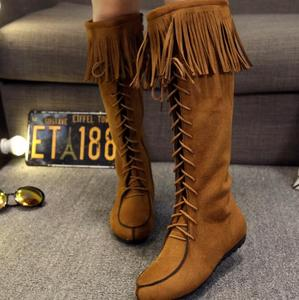 zm50712b autumn winter over knee boots woman ball peen flat boot lady suede lacing shoe