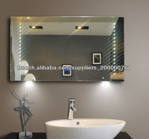 meilleure qualit horloge salle de bain miroir avec la lumi re mirroir de salle de bain id de. Black Bedroom Furniture Sets. Home Design Ideas