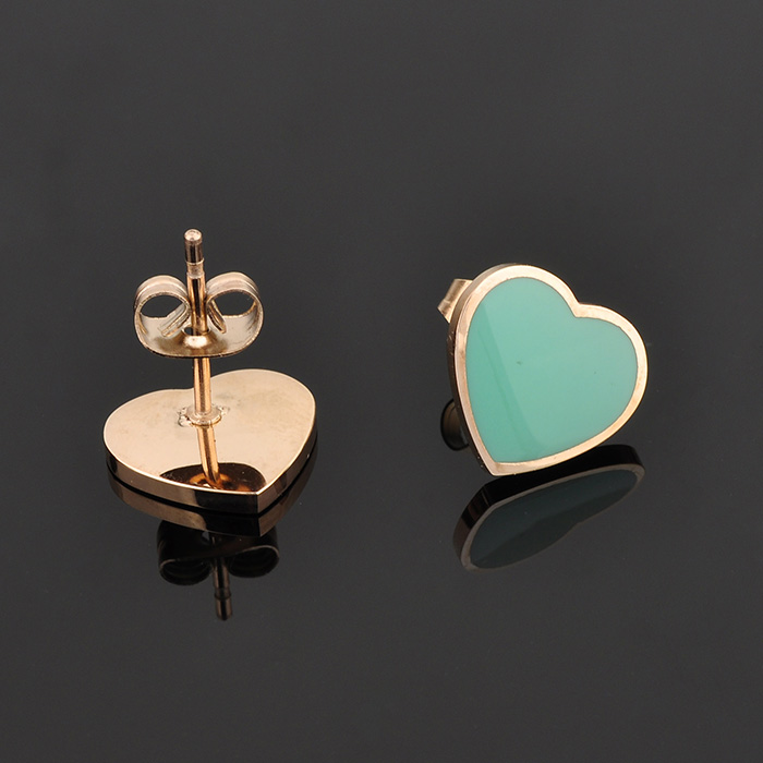 Fashionable Jewelry Custom Stainless Steel Heart Design Pink Earring