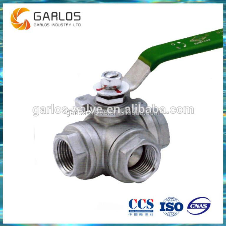 T Port Threaded Type Stainless Steel 3 Way Ball Valve