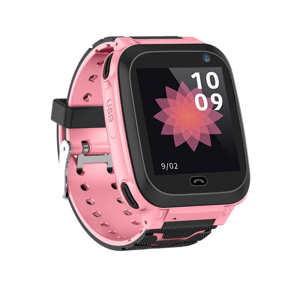 Bluetooth IP67 Waterproof Kids Smart Watch,GPS Tracker for Kids Support SIM SOS Call (Pink/Blue)