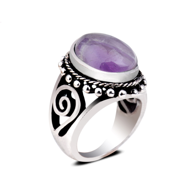 Love Promise Band Ring Exquisite Natural Amethyst Oval Solitaire Gemstone Rings Antique Silver Plated Vintage Band Ring Jewels