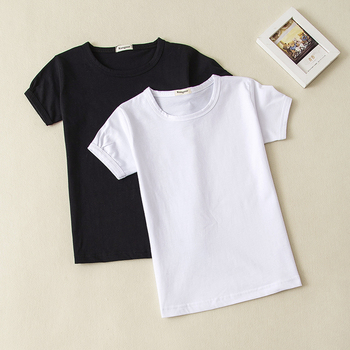 dfd27fb6774 Girls Solid Color Short-Sleeve T shirts Baby Child Cotton Blank Top black  White Girl