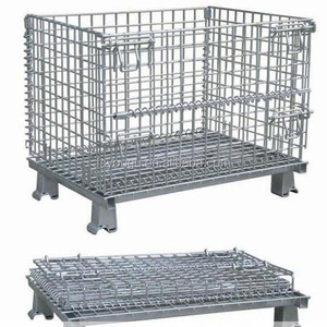warehouse customized stackable foldable stainless steel cage/wire mesh container