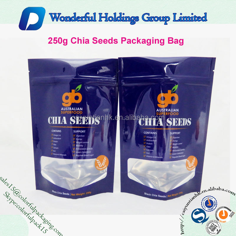 seeds packaging bag plastic doypack with clear window resealable stand up zipper pouch bag