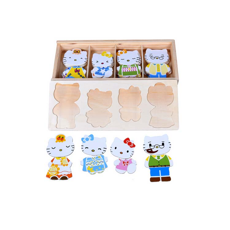 FQ brand educational game kid interesting diy box toy jigsaw mini wooden iq puzzle