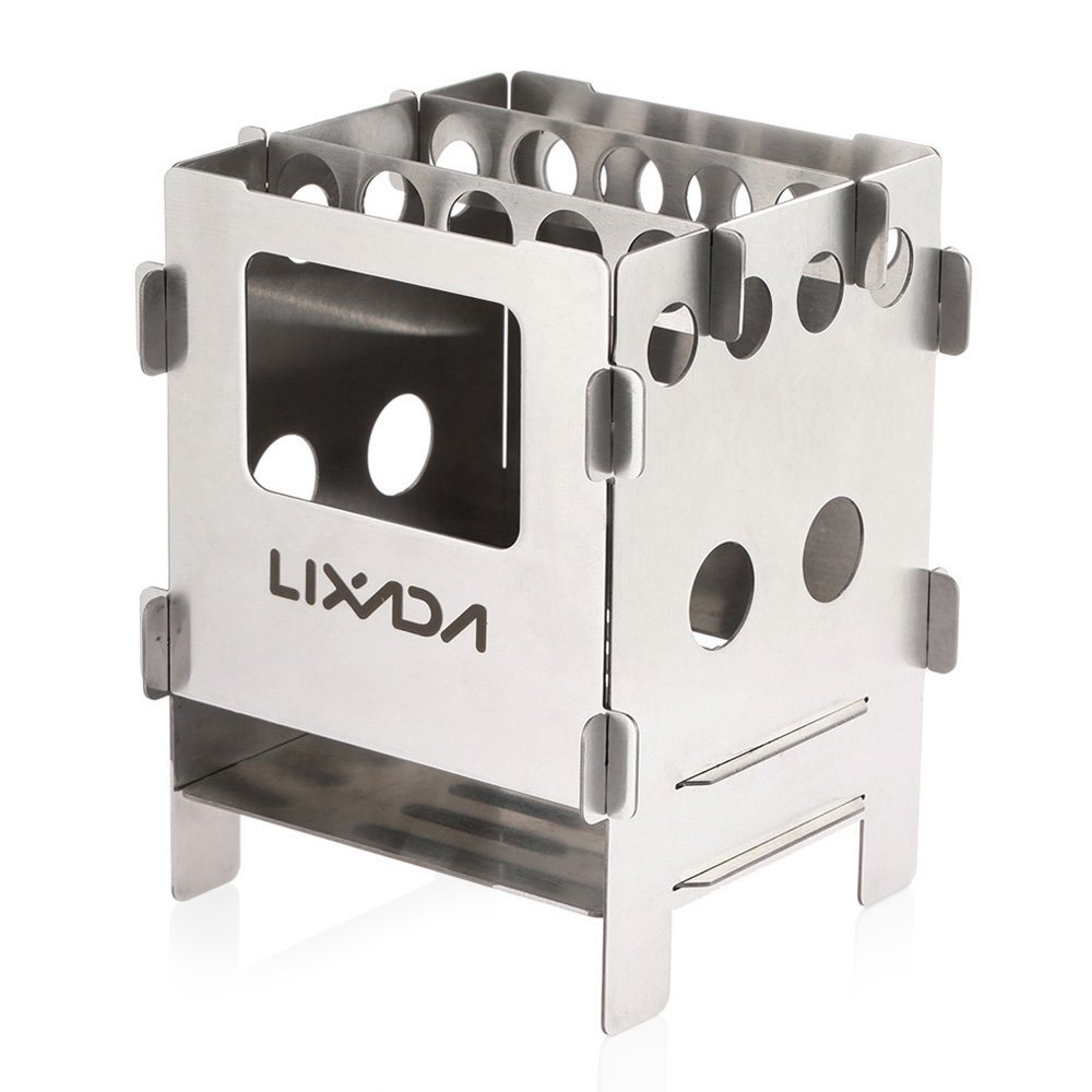 Lixada Camping Wood Stove Stainless Steel Folding Stove Portable Pocket Backpacking Stove for Outdoor Camping Cooking Picnic
