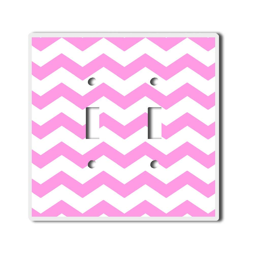 Light Switch Double Toggle Wall Plate Cover By InfoposUSA Chevron Light Pink