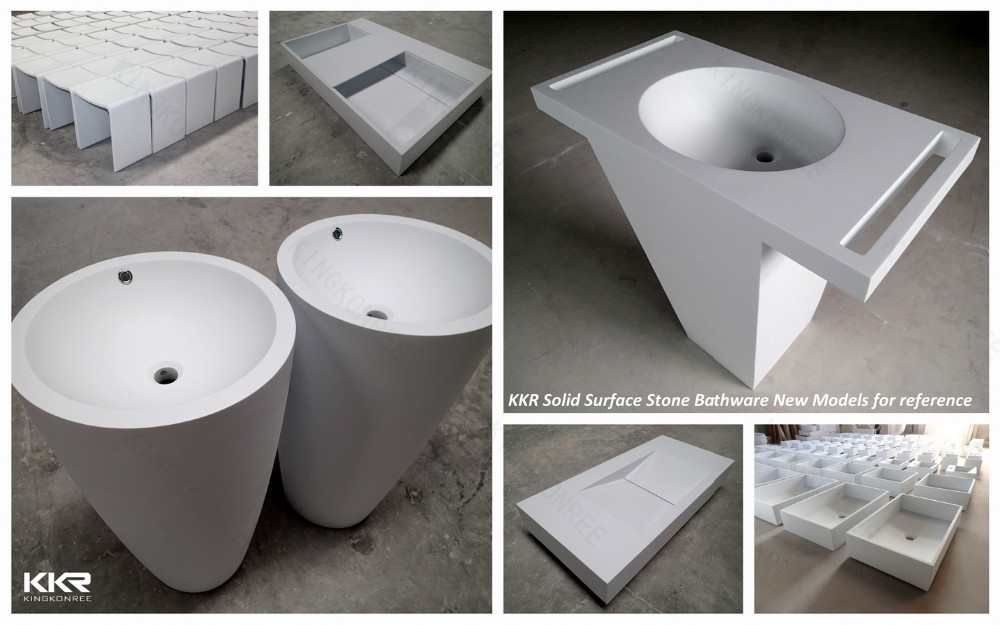 Acrylic Solid Surface Bathroom Face Basin/semi-recessed Basins ...