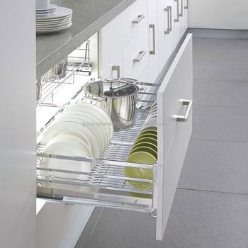 Aksesoris Dapur Kabinet 3 Sisi Piring Pemegang Kawat Baksets Dengan Warna Krom Lembut Penutupan