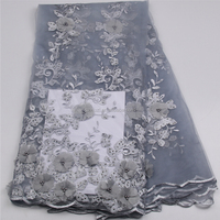 High Quality Silver Gray Beaded French Dress Lace 3d Flower Embroidery Tulle Lace Fabric