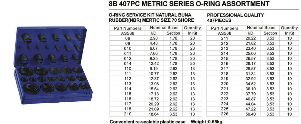 8b 407pcs Nbr O Ring Kit,Nbr70sh Blue 407pcs Metric O Ring ...