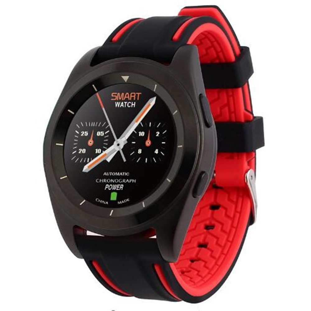 G6 Smart Watch Bluetooth Watch MTK2502 Smartwatch Sport Bluetooth 4.0 Fitness Tracker Call Running Heart Rate Monitor for Android IOS Smart phones (black +black/red TPU)