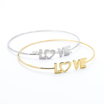 Custom Letter Love Cuff Bracelet For Las New Model Bangle Design Stainless Steel Jewelry