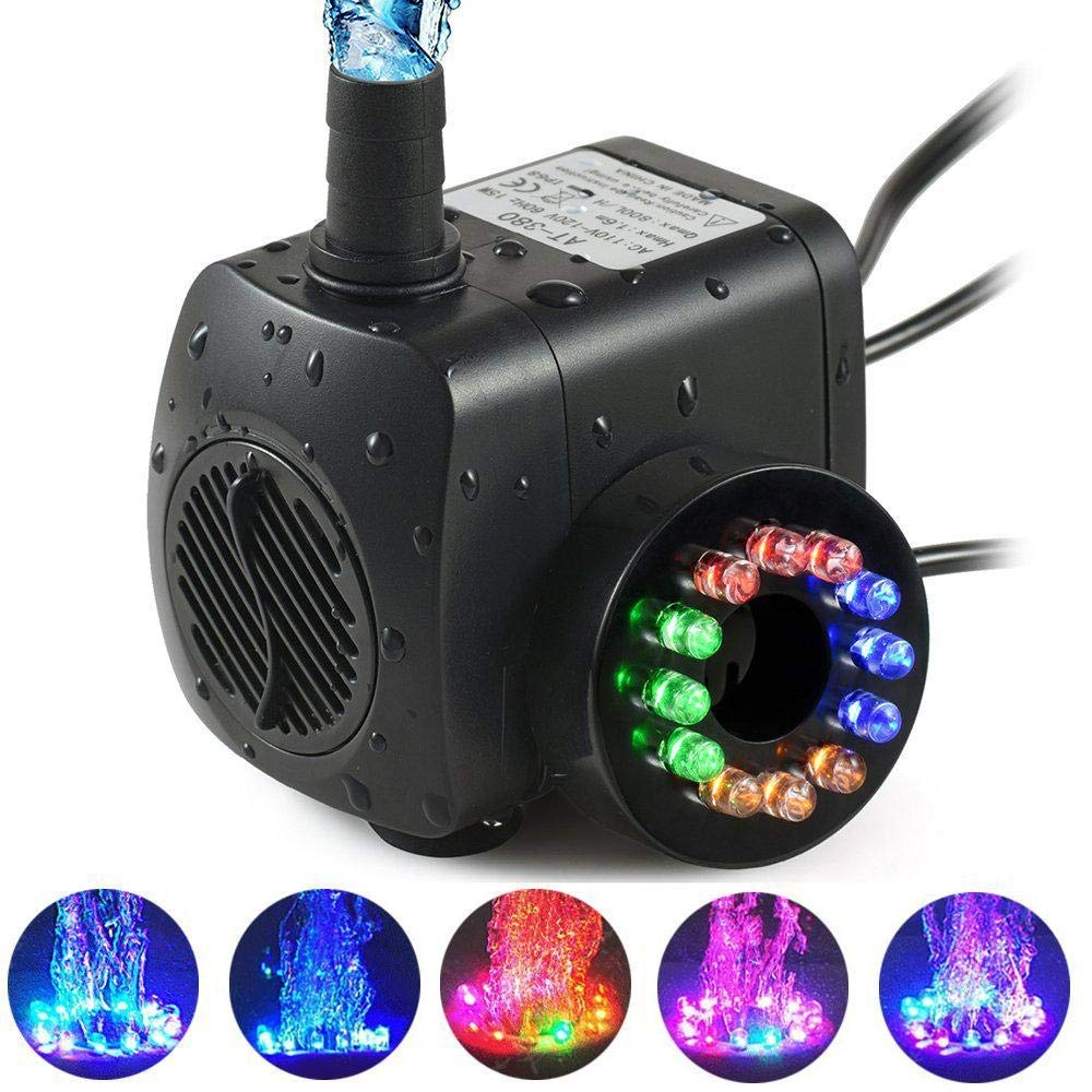 Aolvo Led Submersible Fountain Pump, Ultra-Silent 210 GPH (800L/H, 15W) Submersible Aquarium Water Pump 12 Colorful Led & 2 Nozzles, Powerful Water Pump Fish Tank Pond, Statuary Garden Pool