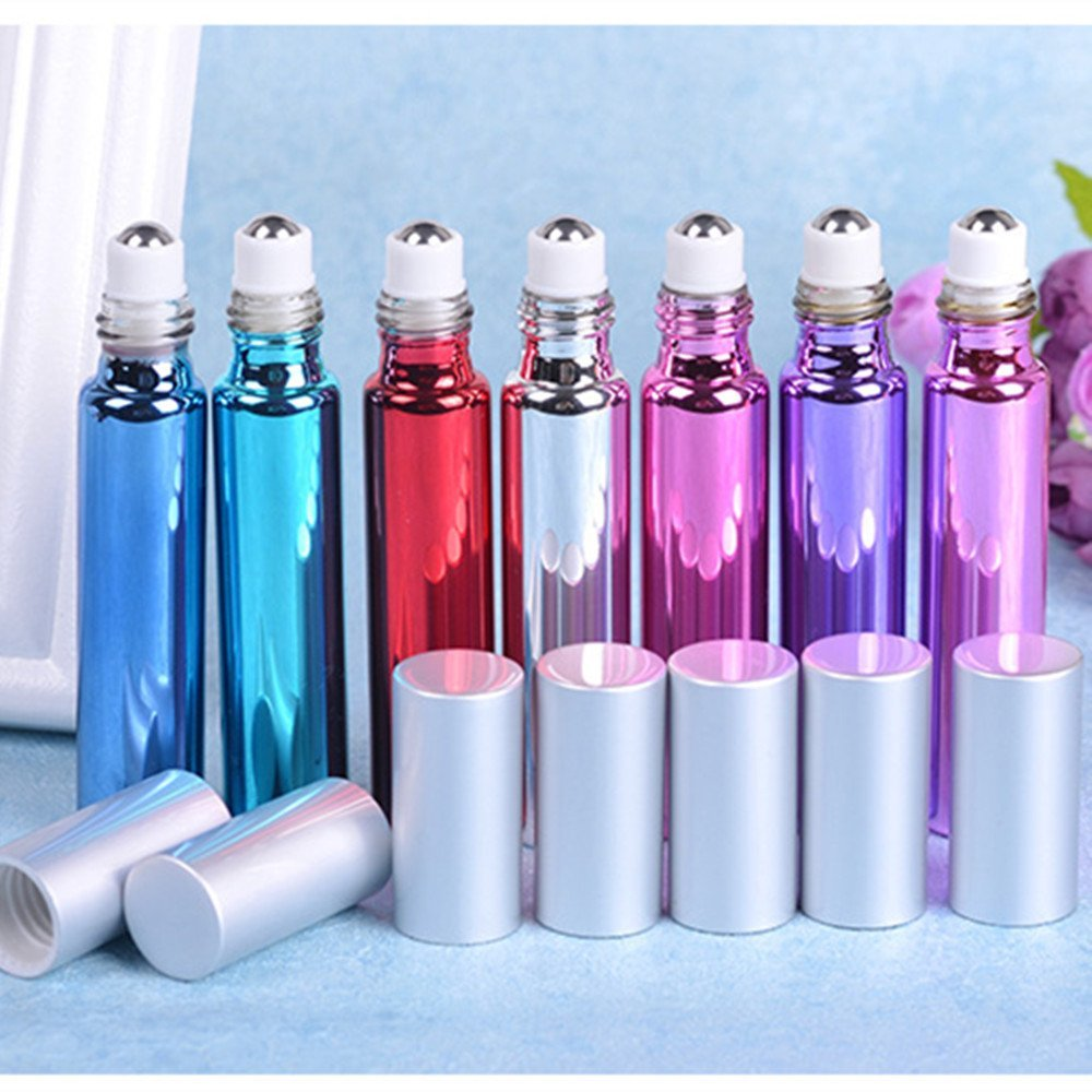 Alonea 10ml Stainles Steel Liquids Oil Perfume Empty Bottle Travel bottles (Blue&Sky Blue&Pink&Hot Pink&Red&Purple&Silver)