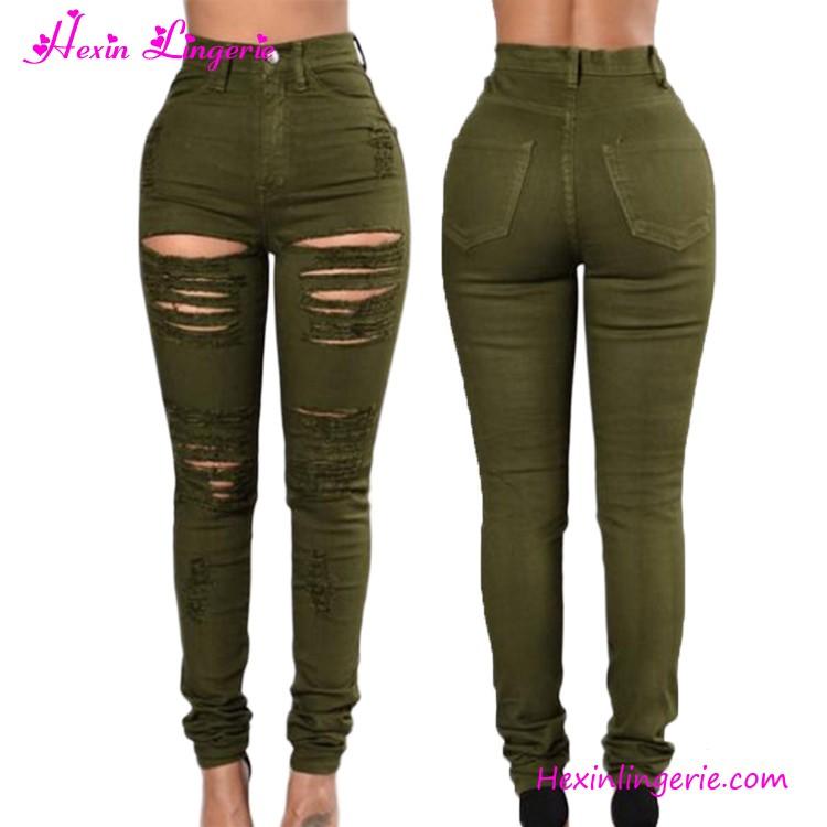 bastante agradable 83c2d 4937b Ejército Verde Largo Arrancó Los Pantalones Guangzhou Dama Denim Jeans  Pantalones - Buy Denim Jeans Pantalones,Señora Jean,Guangzhou Jeans Product  on ...